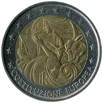 2 Euro 2005 European Constitution Italien Münzen Wert Ucoinnet