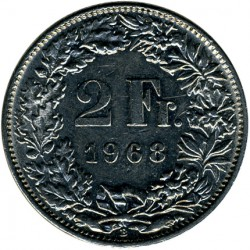 Coin > 2 francs, 1968 - Switzerland  - obverse