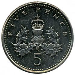 Mynt > 5pence, 1998-2008 - Storbritannia  - reverse