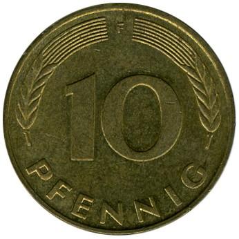 10 пфеннигов 1990 сколько стоит один цент