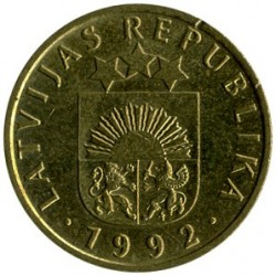 Moneta > 5santimi, 1992 - Lettonia  - reverse