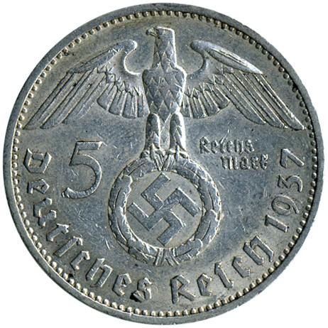 5 рейхсмарок 1936-1939, Германия - Третий рейх - Цена монеты - uCoin.net