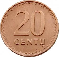Minca > 20centas, 1991 - Litva  - reverse