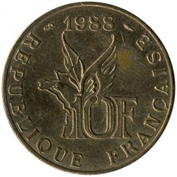 Coin > 10francs, 1988 - France  (100th Anniversary - Birth of Roland Garros) - obverse