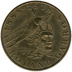 Coin > 10francs, 1988 - France  (100th Anniversary - Birth of Roland Garros) - reverse
