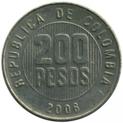 Coin > 200 pesos, 2006 - Colombia  - obverse