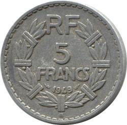 Coin > 5francs, 1945-1952 - France  - reverse