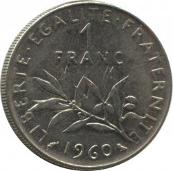 Coin > 1 franc, 1960 - France  - reverse