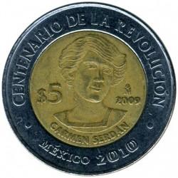 Coin > 5pesos, 2009 - Mexico  (Centenary of Revolution - Carmen Serdán) - reverse