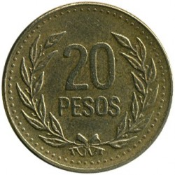 Coin > 20 pesos, 1989-1994 - Colombia  - obverse
