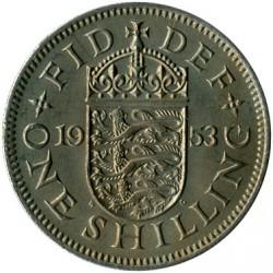 Moneta > 1scellino, 1953 - Regno Unito  (Stemma inglese, tre leoni su scudo incoronato) - reverse