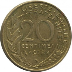 Coin > 20 centimes, 1978 - France  - reverse