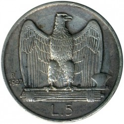 Coin > 5 lire, 1927 - Italy  - reverse