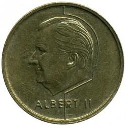 "Minca > 5francs, 1994-2001 - Belgicko  (Názov vo francúzštine - ""BELGIQUE"") - obverse"