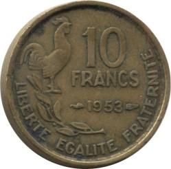 Moneda > 10francos, 1953 - Francia  - reverse