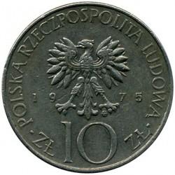 Coin > 10zlotych, 1975-1976 - Poland  (Adam Mickiewicz) - obverse