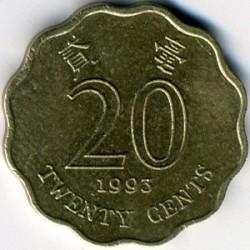 Coin > 20cents, 1993-1998 - Hong Kong  - reverse