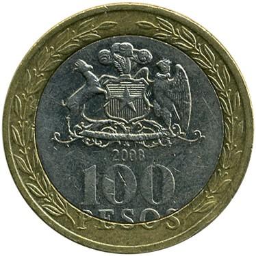 100 Pesos 2001 2017 Chile Münzen Wert Ucoinnet
