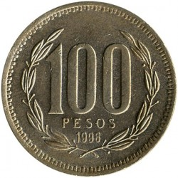Coin > 100pesos, 1998 - Chile  - obverse