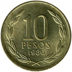 Moneta > 10pesos, 1981-1990 - Cile  - obverse
