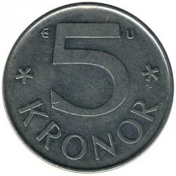 Mynt > 5kroner, 1976-1992 - Sverige  - reverse