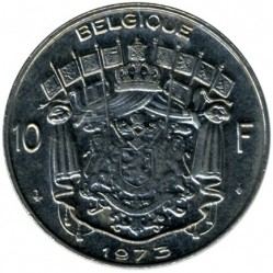 Coin > 10 francs, 1973 - Belgium  (Legend in French - 'BELGIQUE') - reverse