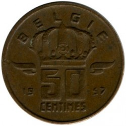 """מטבע > 50סנטים, 1956-2001 - בלגיה  (הכתובת בהולנדית - """"BELGIE"""") - reverse"""