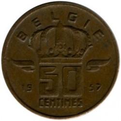 Monedă > 50centime, 1956-2001 - Belgia  (Legend in Dutch - 'BELGIE') - reverse