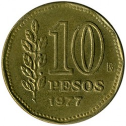 سکه > 10پزو, 1977 - آرژانتین  (200th Anniversary - Birth of Guillermo Brown) - obverse