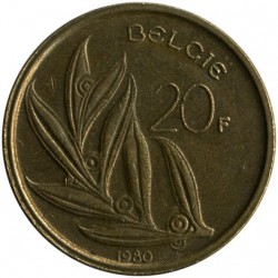 Coin > 20 francs, 1980-1993 - Belgium  (Legend in Dutch - 'BELGIE') - reverse