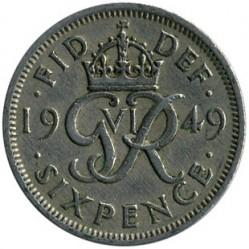 Moeda > 6pence, 1949-1952 - Reino Unido  - reverse