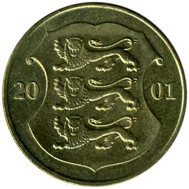 1 kroon 2000 года цена 10 рублей монета 2012