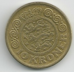 Монета > 10крон, 1989-1993 - Данія  - reverse