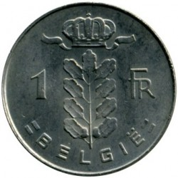 "Minca > 1frank, 1973 - Belgicko  (Nadpis v holandčine - ""BELGIE"") - reverse"