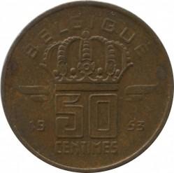 Mynt > 50centimes, 1953 - Belgien  (Legend på franska - 'BELGIQUE') - reverse
