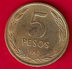 Moneta > 5pesos, 1990-1992 - Cile  - reverse