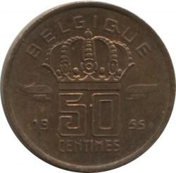 "Minca > 50centimes, 1952-1955 - Belgicko  (Názov vo francúzštine - ""BELGIQUE"") - reverse"