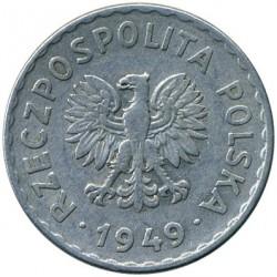 Minca > 1zloty, 1949 - Poľsko  (Aluminium, 2.12g) - obverse