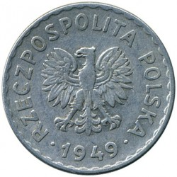 Minca > 1zloty, 1949 - Poľsko  (Aluminium, 2.12g) - reverse