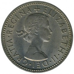 Monēta > 1 šiliņš, 1954-1970 - Lielbritānija  (English arms, three lions on crowned shield) - obverse
