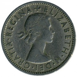 Coin > 2 shillings (florin), 1955 - United Kingdom  - obverse