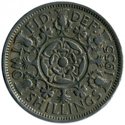 Coin > 2 shillings (florin), 1955 - United Kingdom  - reverse