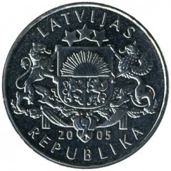 Moneda > 1lats, 2005 - Letonia  (Rooster of St. Peter's Church) - reverse