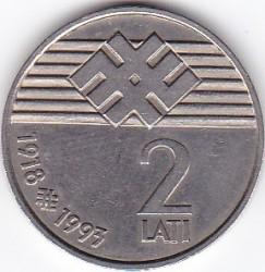 Moneta > 2lati, 1993 - Lettonia  (75° anniversario - Repubblica di Lettonia) - reverse