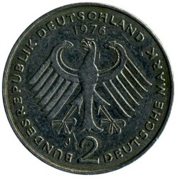Coin > 2 mark, 1976 - Germany  (Konrad Adenauer. 20th Anniversary - Federal Republic (1949 - 1969)) - reverse