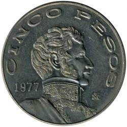 Coin > 5pesos, 1977 - Mexico  - reverse