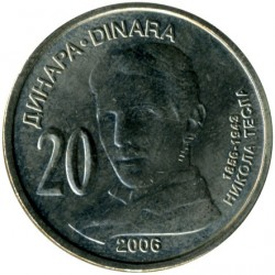Pièce > 20dinars, 2006 - Serbie  (150th Anniversary - Birth of Nikola Tesla) - obverse