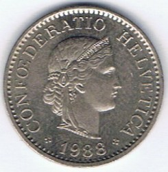Coin > 10 rappen, 1988 - Switzerland  - obverse