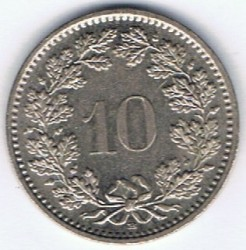 Coin > 10 rappen, 1988 - Switzerland  - reverse