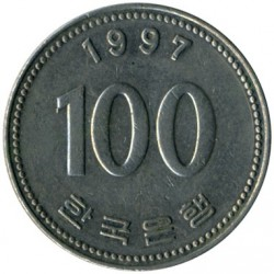 Coin > 100won, 1997 - South Korea  - obverse